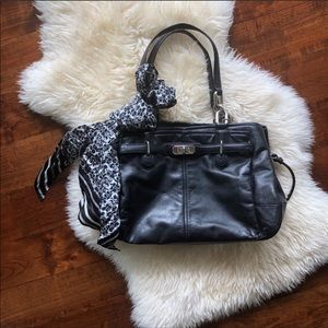 Coach black leather purse with silk scarf
